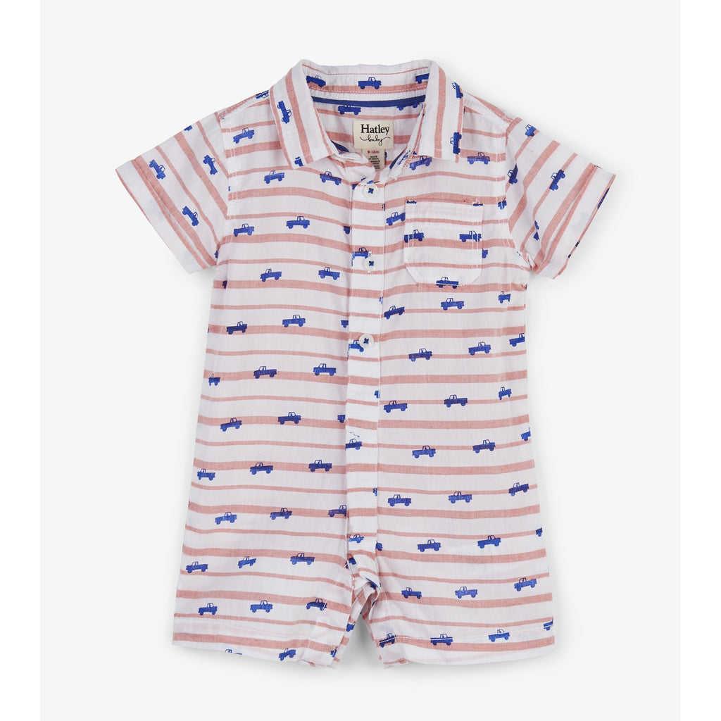 Tiny Pickup Trucks Baby Woven Romper