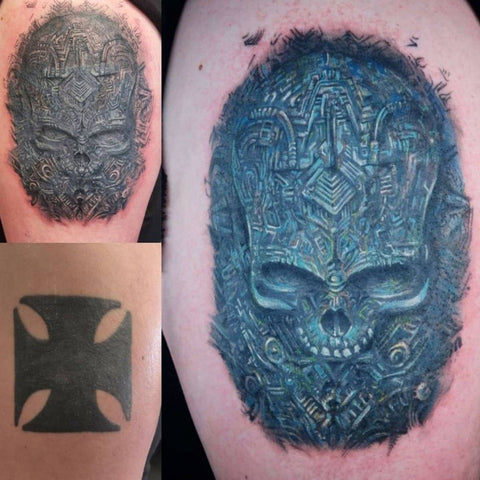 Big Dark Tattoo Cover Up with Skull Best Tattoo Cover Up Ideas