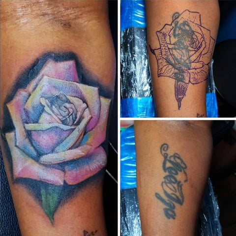 Black Name Cover Up With Flower  Best Tattoo Cover Up Ideas