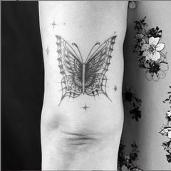 Black and Grey Butterfly Mom Tattoo