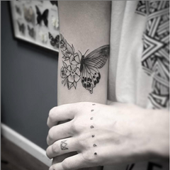 Butterfly and Flowers Mom Tattoo
