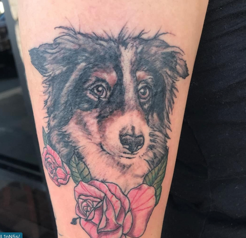 Color Dog PEt Portrait Tattoo