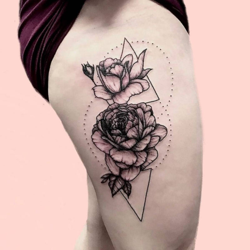 Geometric Tattoo With Roses