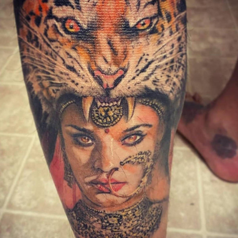 Portrait Tattoo Girl In Tigers Mouth