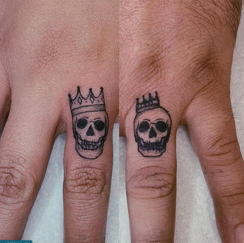 King and Queen Skulls Couples Tattoos