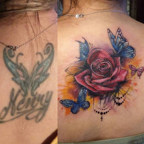 Large Old tattoo Cover Up With Flowers and Butterflys Best Tattoo Cover Up Ideas