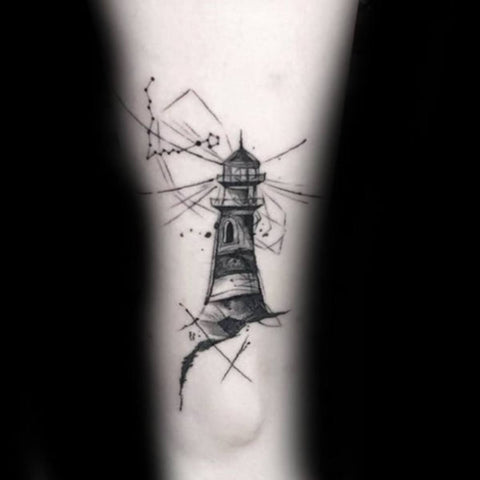Lighthouse with Pisces Constellation tattoo Best Pisces Tattoo Ideas