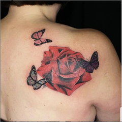 Butterflies and Rose Mom Tattoo
