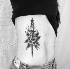 Dagger and Flower Tattoo