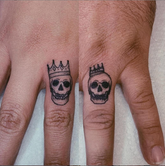 Mom and Dad Couples Tattoos Skulls