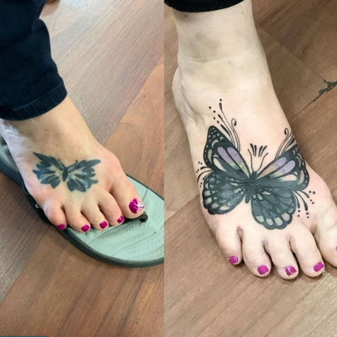 Old Butterfly Tattoo Blast Over Cover Up With New Butterfly Best Tattoo Cover Up Ideas