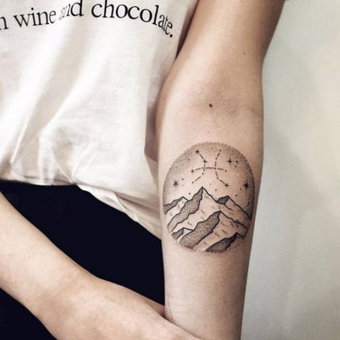 Pisces Symbol with Mountain Best Pisces Tattoo Ideas