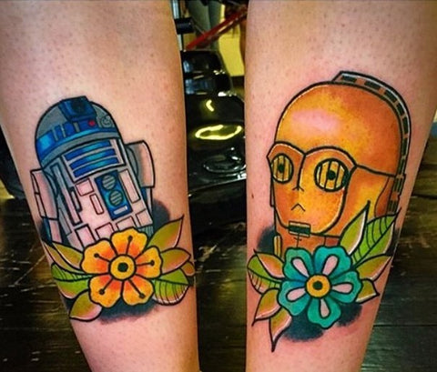 R2D2 and C3PO Star Wars Tattoo