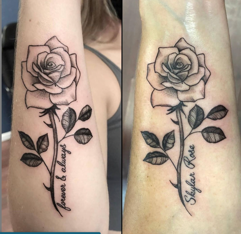 Rose with Script Couples Tattoos