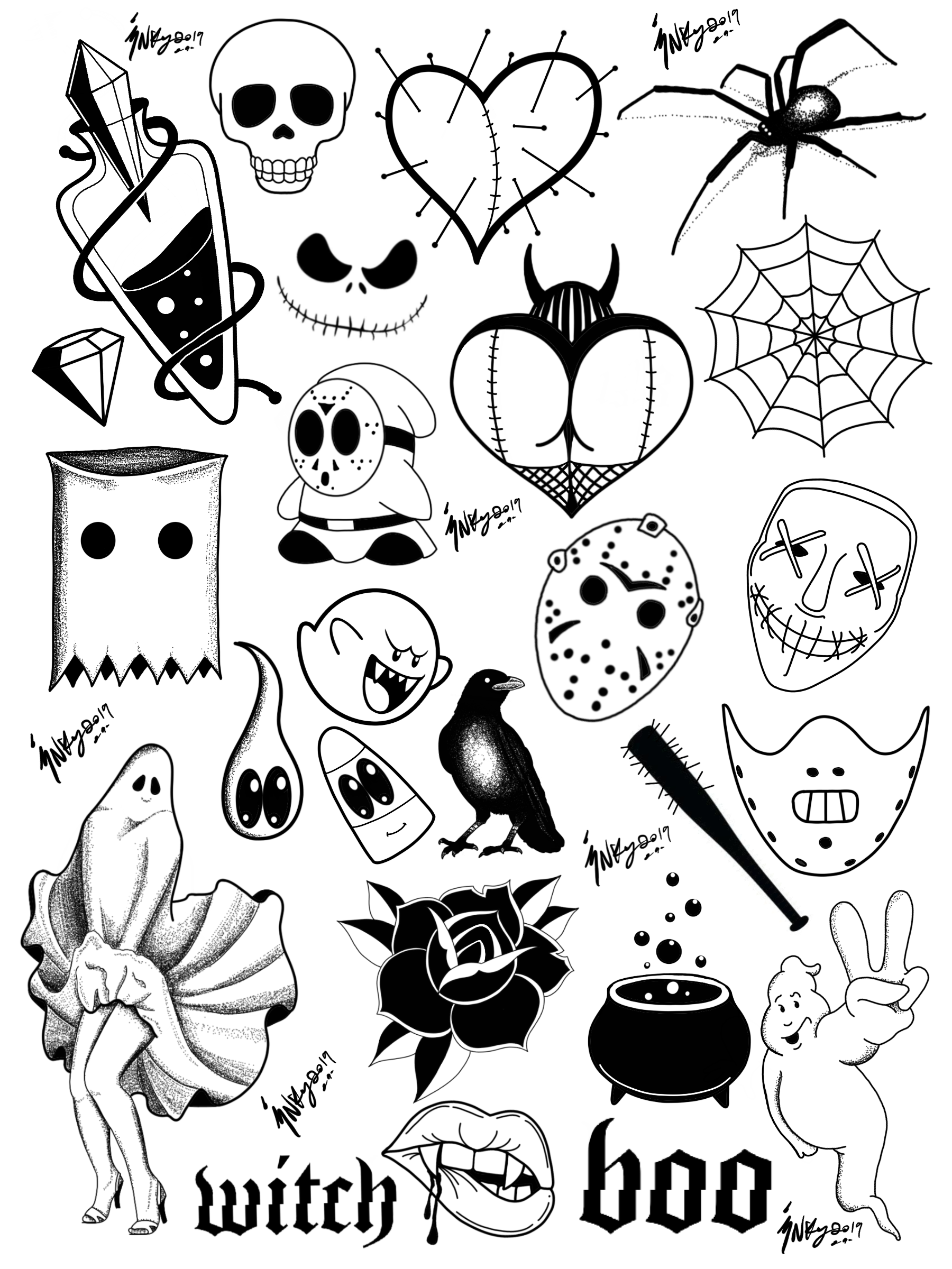 Ryans Halloween Flash Tattoos
