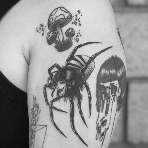 Scary Spider with Womans Head Tattoo Best Scary Tattoo Ideas