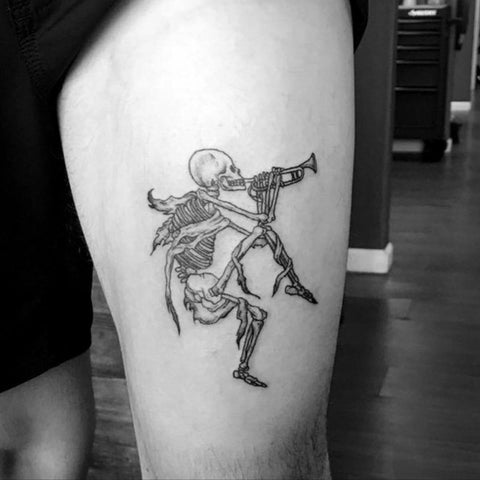 Skeleton Playing  a Horn Scary Tattoo Best Scary Tattoo Ideas