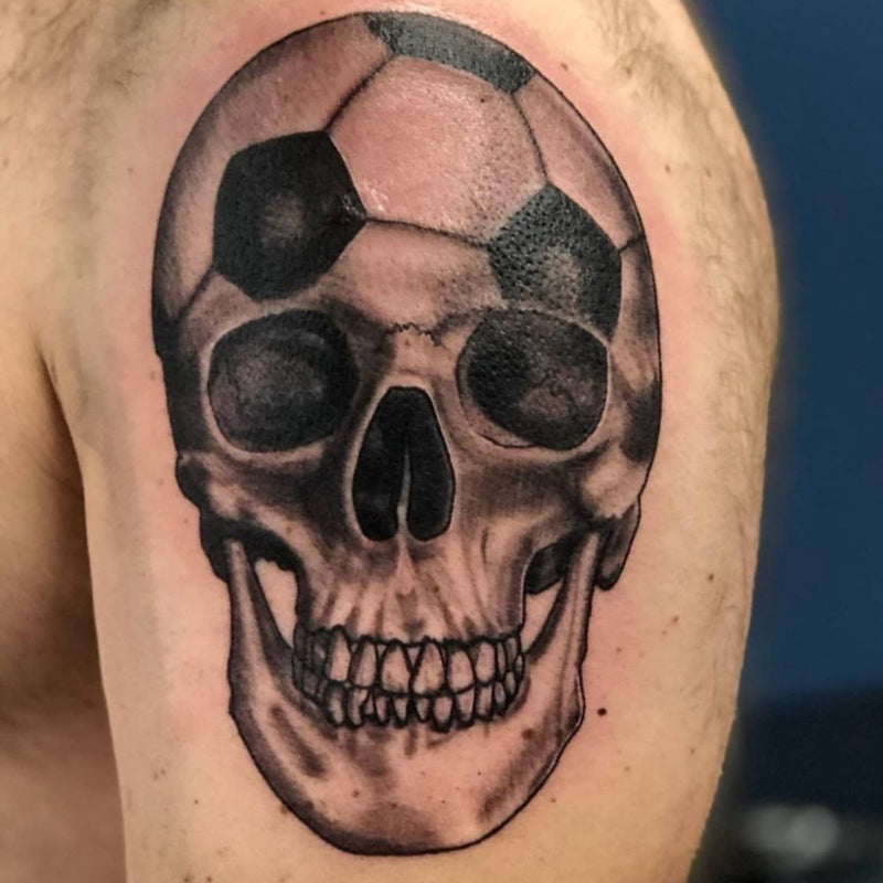 Soccer Skull Blackwork Tattoo