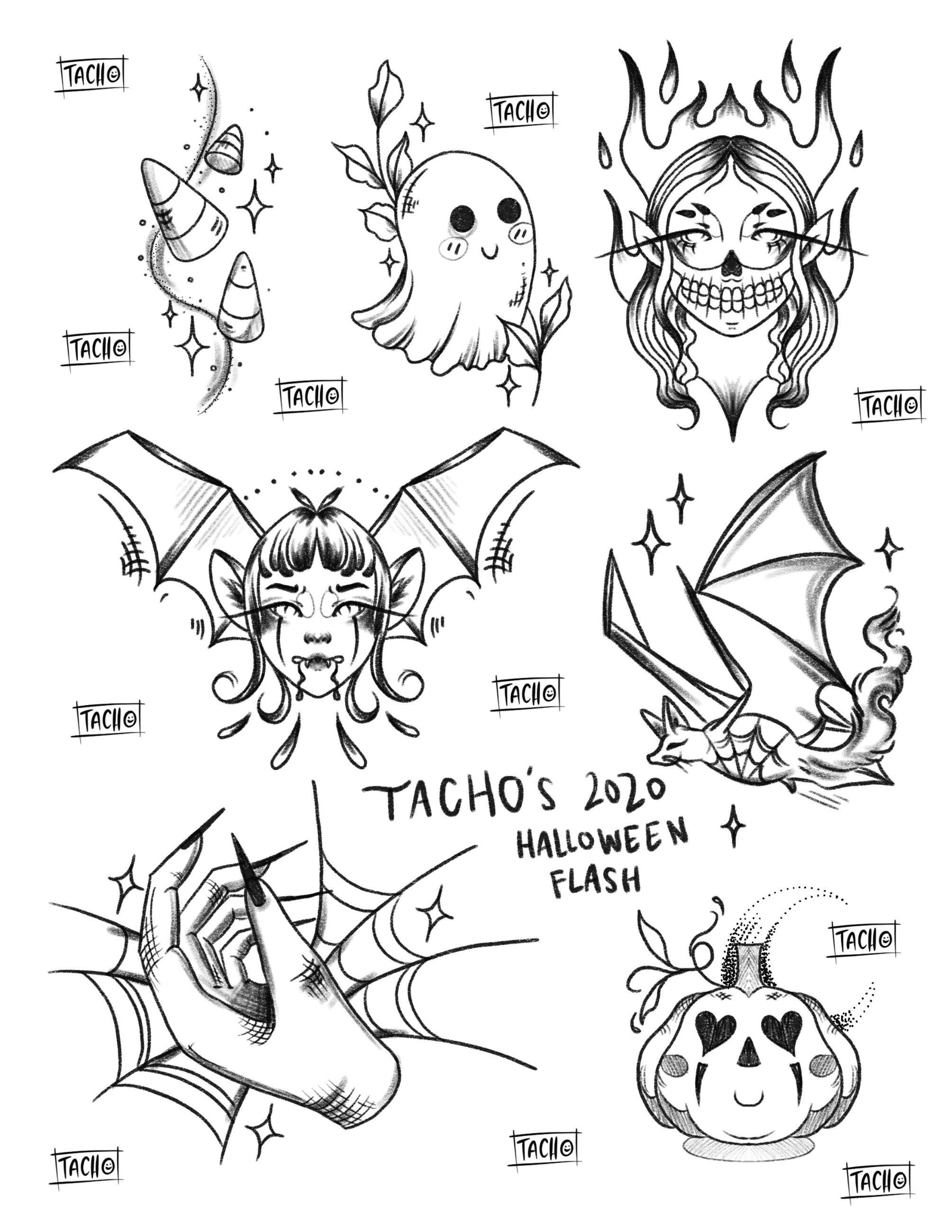 Tachos Halloween Flash Tattoos