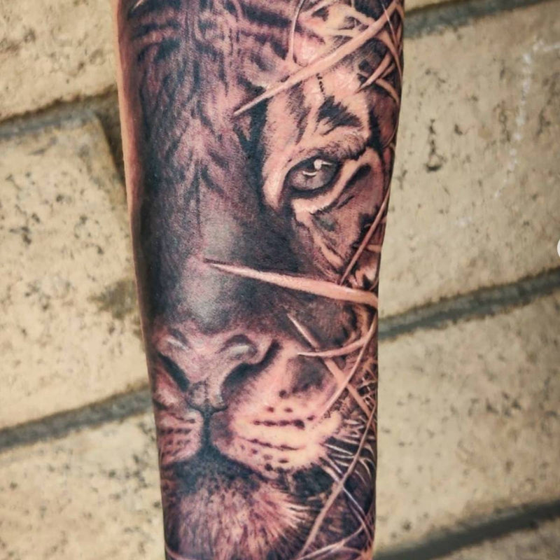 Tiger realistic tattoo black work