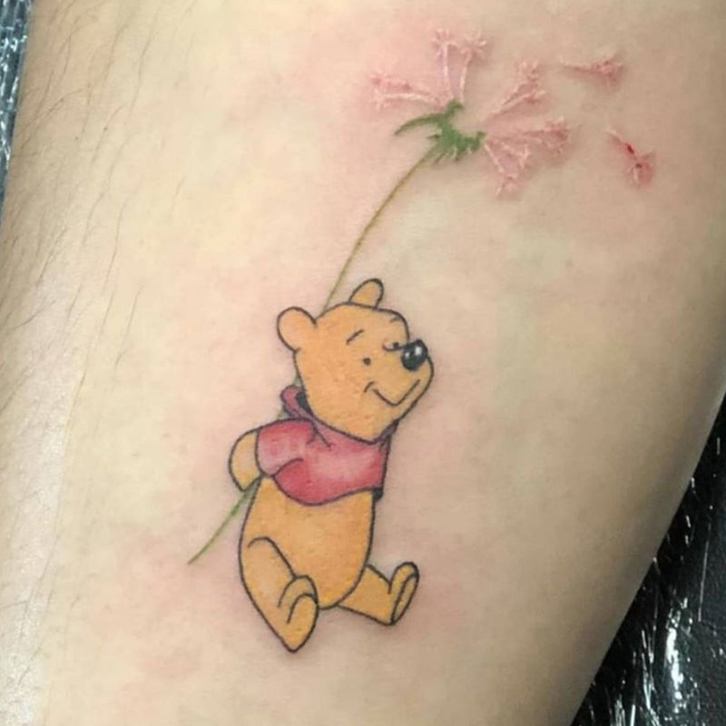 Winnie The Pooh with Flower Tattoo