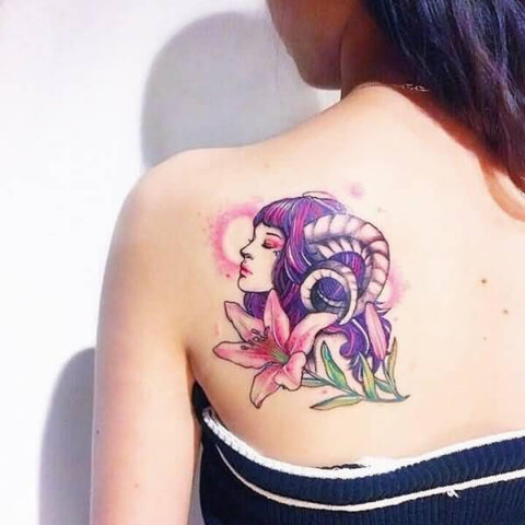 Woman with Rams Horns and Flower Aries Tattoo  Best Aries Zodiac Sign Tattoo Ideas