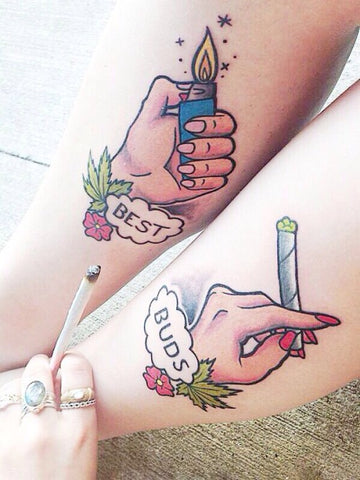 Best Buds Weed Couples Tattoo
