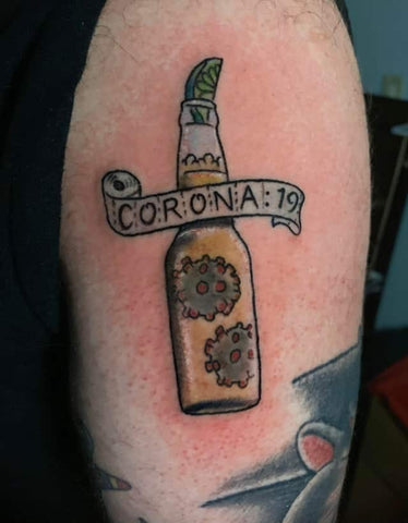 Corona Bottle Coronavirus Tattoo Old School