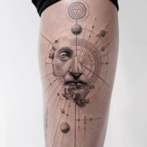 Marcus Aurelius with Universe Tattoo Best Stoicism Tattoo Ideas