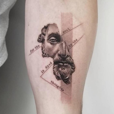 Marcus Aurelius With Quote Tattoo Best Stoic Tattoo Ideas