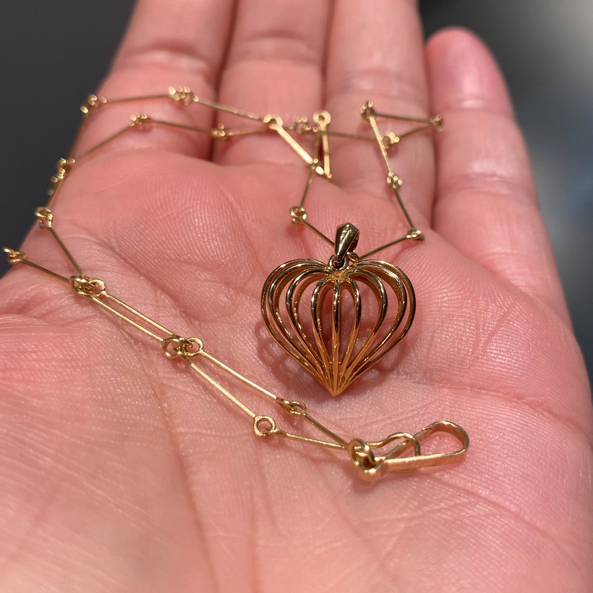 See through my heart, charm necklace.