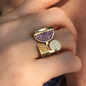 Square, ring- purple