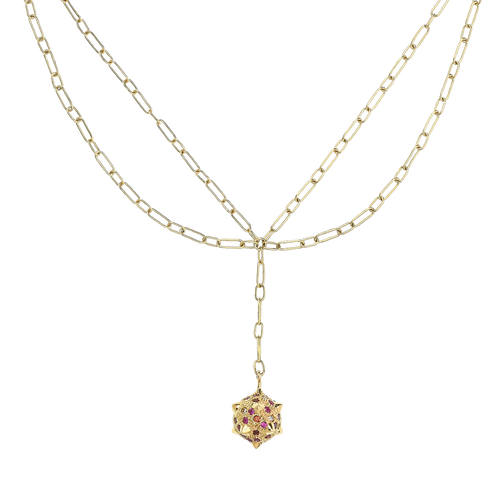 Morning Star, double chain necklace  pavé