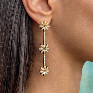 Triple Flower, drop earrings.