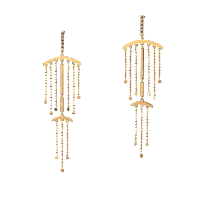 Double fringe, chandelier earrings