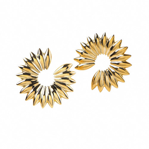 Grain array hoop earrings, gold