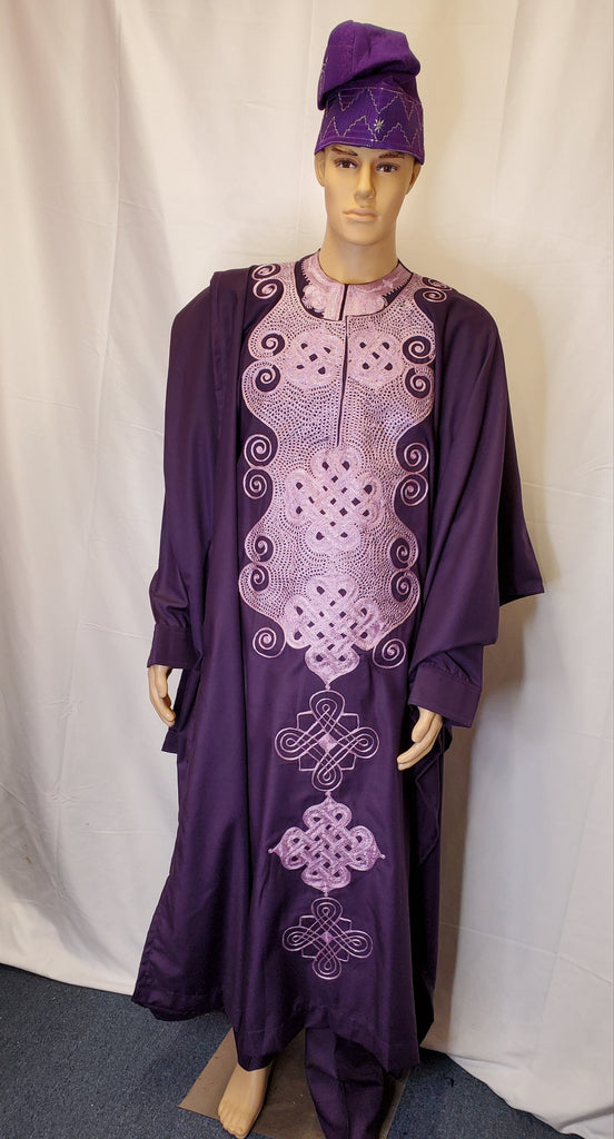 AGBADA 4 PIECES COMPLETE TRADITIONAL OUTFIT MEN CLOTHING