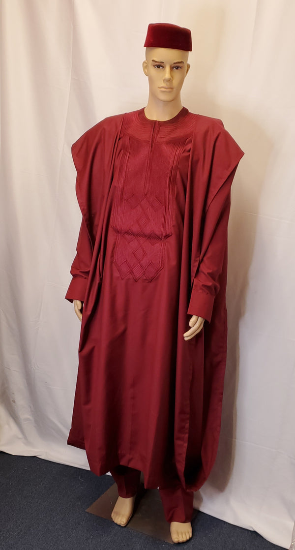 AGBADA MEN'S CLOTHING COMPLETE SET OUTFIT  4 PIECES