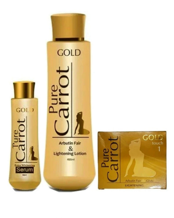 PURE CARROT GOLD LIGHTENING LOTION SET (LOTION, SERUM &SOAP) 3 PIC SET