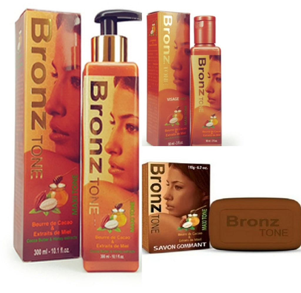 BRONZ TONE MAXI-TONE FADE MILK WITH COCOA BUTTER &HONEY SET ( LOTION  SOAP &OIL)3 PIC SET