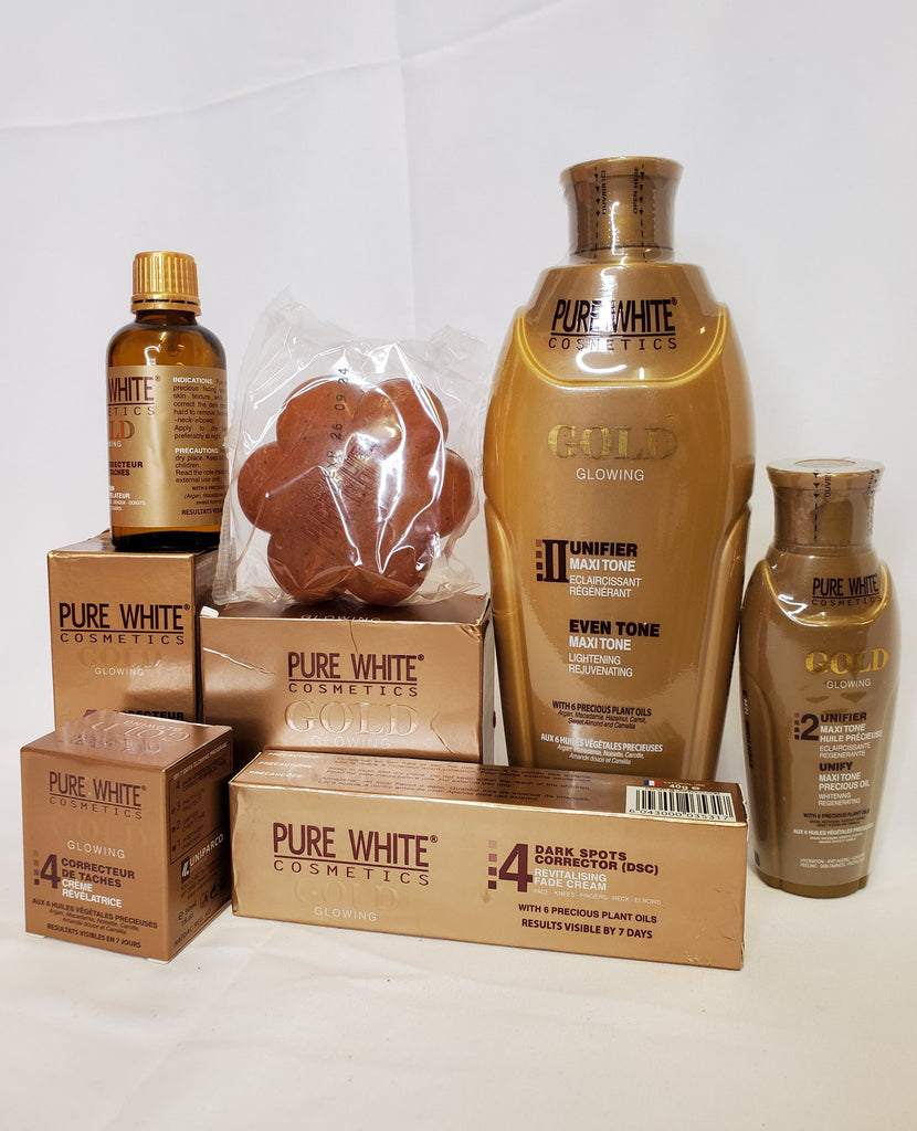 PURE WHITE GOLD GLOWING 2 UNIFIER MAXI-TONE LIGHTENING LOTION + SOAP +SERUM + OIL + DARK SPOT REMOVER + TUBE CREAM 6 PIC SET