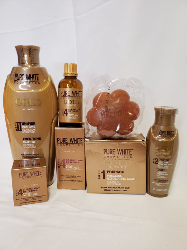 PURE WHITE GOLD GLOWING MAXI-TONE LIGHTENING LOTION 5PIC SET LOTION + SOAP +SERUM +OIL+ DARK SPOT CORRECTOR