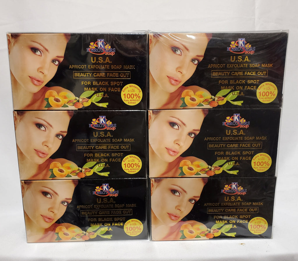 KBROTHER USA APRICOT EXFOLIATE SOAP MASK  BEAUTY CARE  FACE OUT  6 PIECES