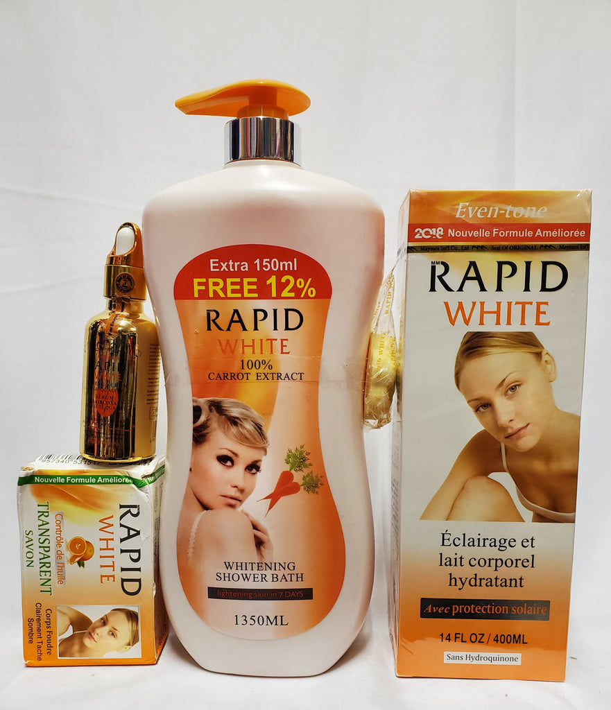 RAPID WHITE LIGHTENING AND MOISTURIZING BODY MILK + SHOWER GEL+SERUM+SOAP