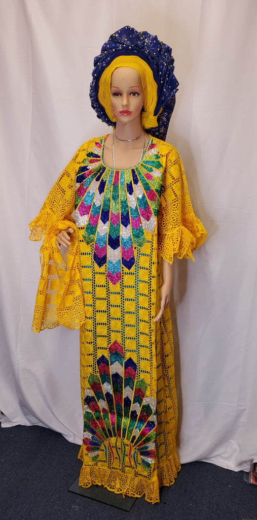 STUNNING YELLOW SENEGALESE READY-MADE HIGH QUALITY DRESS