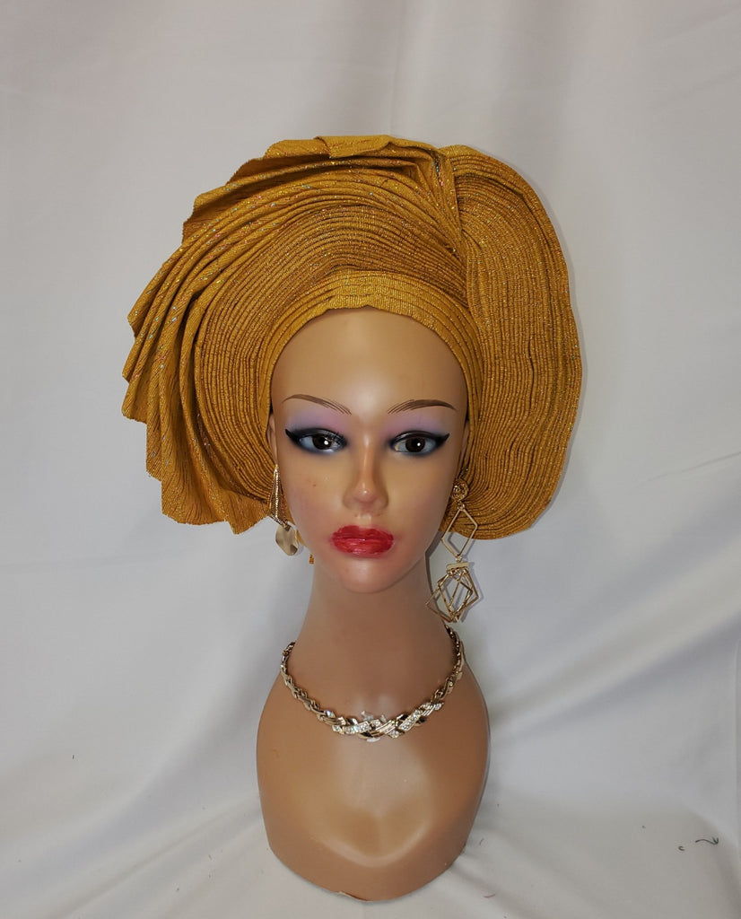 Lovely gold ready-made headtie aso oke