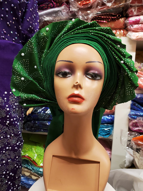 GREEN READY-MADE HEADTIE AUTO GELE