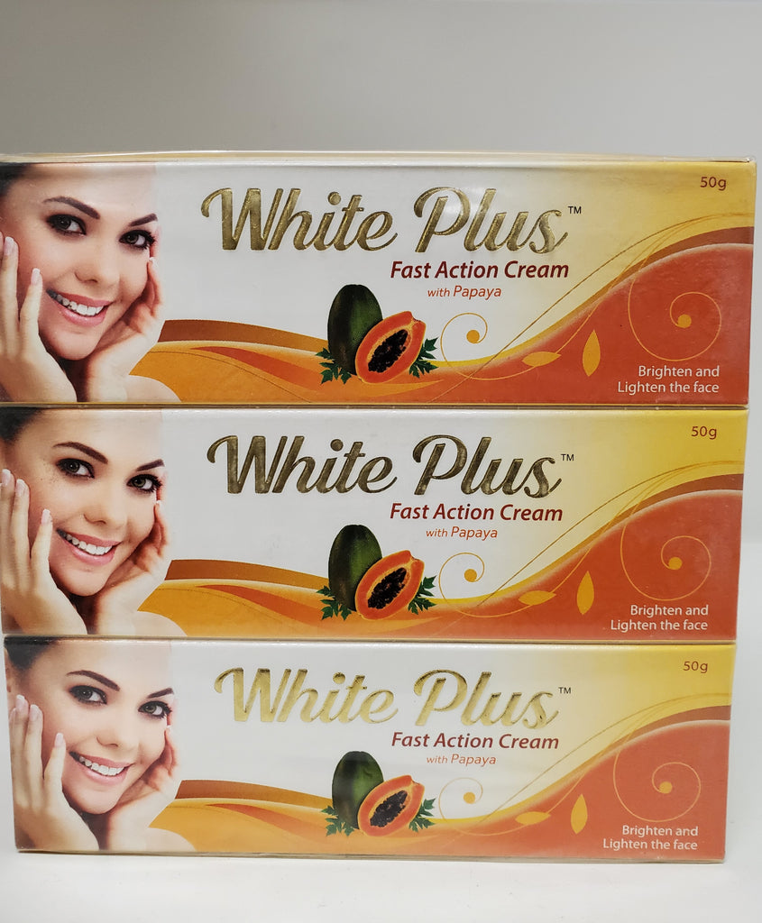 WHITE PLUS TUBE CREME FAST ACTION RAPIDE  WITH PAPAYA