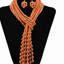 Coral Beads Jewelry Set - Ladybee Swiss Lace