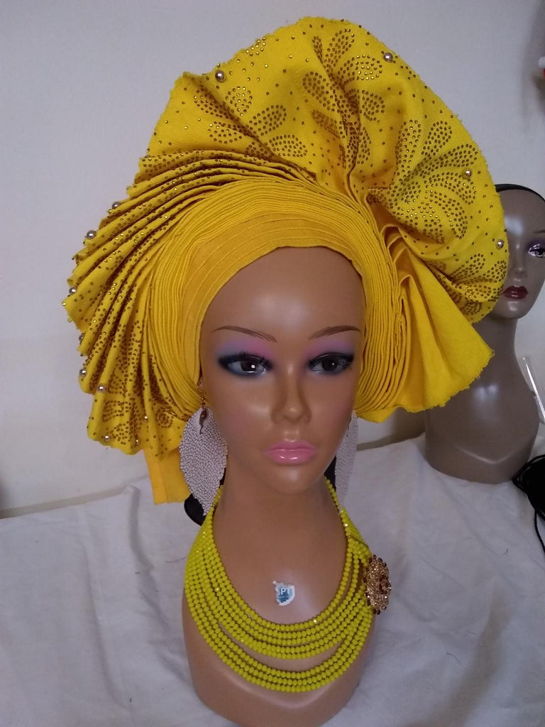YELLOW AUTO GELE HEADTIE